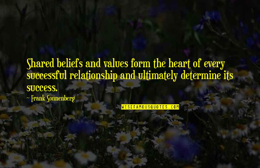 Sonnenberg Quotes By Frank Sonnenberg: Shared beliefs and values form the heart of