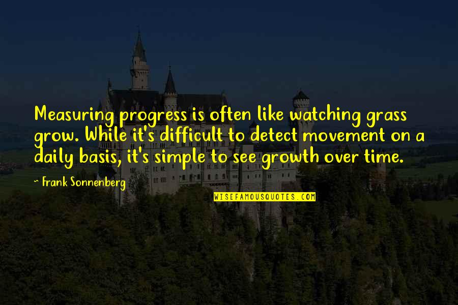 Sonnenberg Quotes By Frank Sonnenberg: Measuring progress is often like watching grass grow.