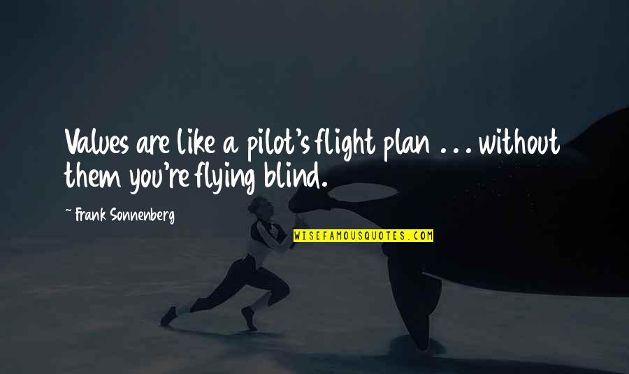Sonnenberg Quotes By Frank Sonnenberg: Values are like a pilot's flight plan .