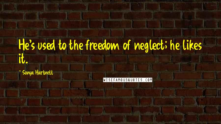 Sonya Hartnett quotes: He's used to the freedom of neglect; he likes it.