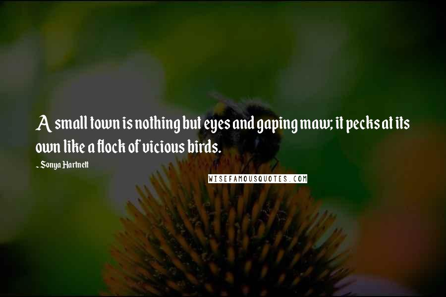 Sonya Hartnett quotes: A small town is nothing but eyes and gaping maw; it pecks at its own like a flock of vicious birds.