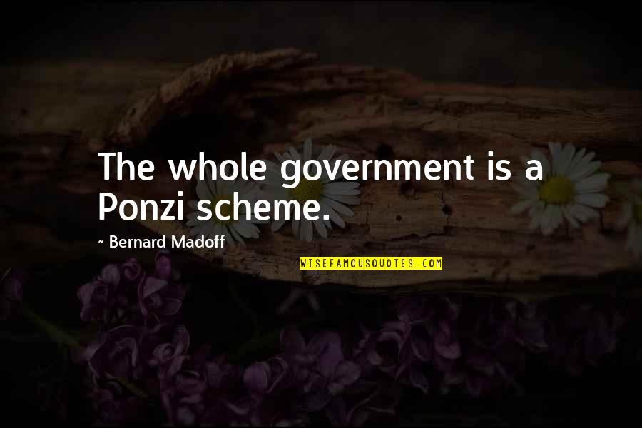 Sooths Quotes By Bernard Madoff: The whole government is a Ponzi scheme.