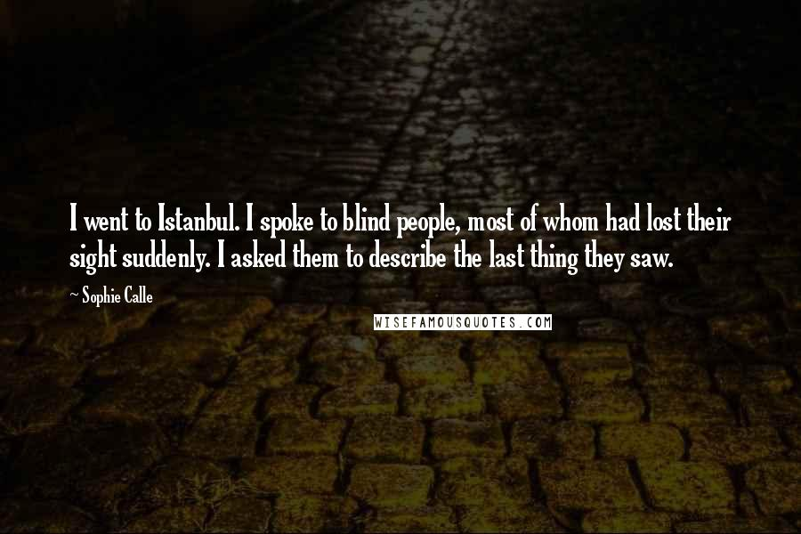 Sophie Calle quotes: I went to Istanbul. I spoke to blind people, most of whom had lost their sight suddenly. I asked them to describe the last thing they saw.