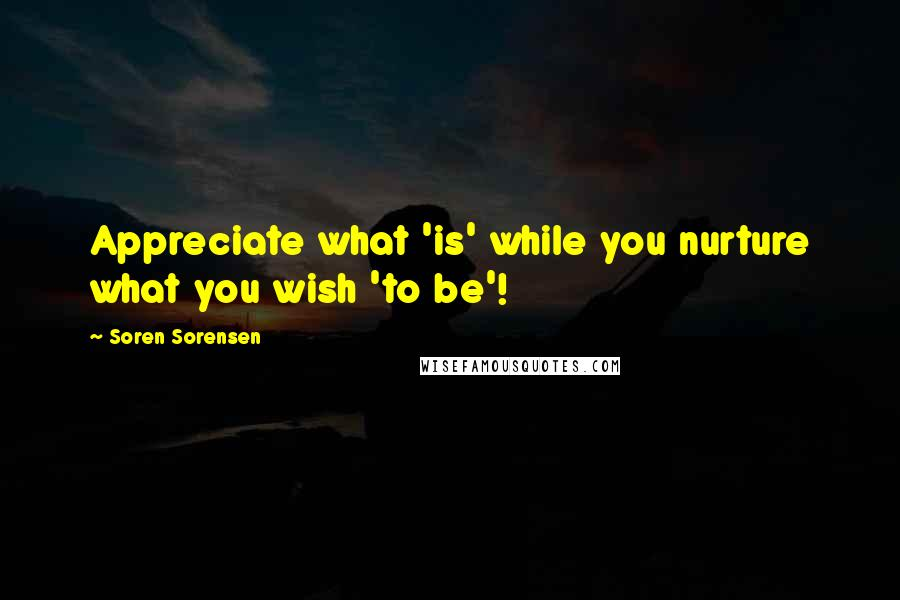 Soren Sorensen quotes: Appreciate what 'is' while you nurture what you wish 'to be'!