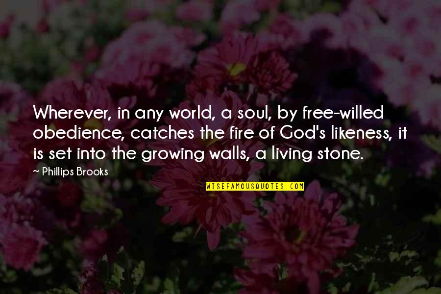 Soul Fire Quotes By Phillips Brooks: Wherever, in any world, a soul, by free-willed