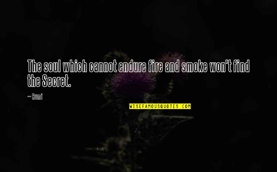 Soul Fire Quotes By Rumi: The soul which cannot endure fire and smoke