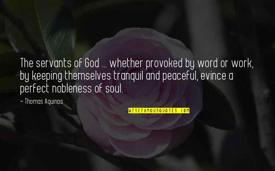 Soul Keeping Quotes By Thomas Aquinas: The servants of God ... whether provoked by