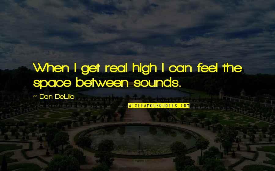 Sounds Quotes By Don DeLillo: When I get real high I can feel