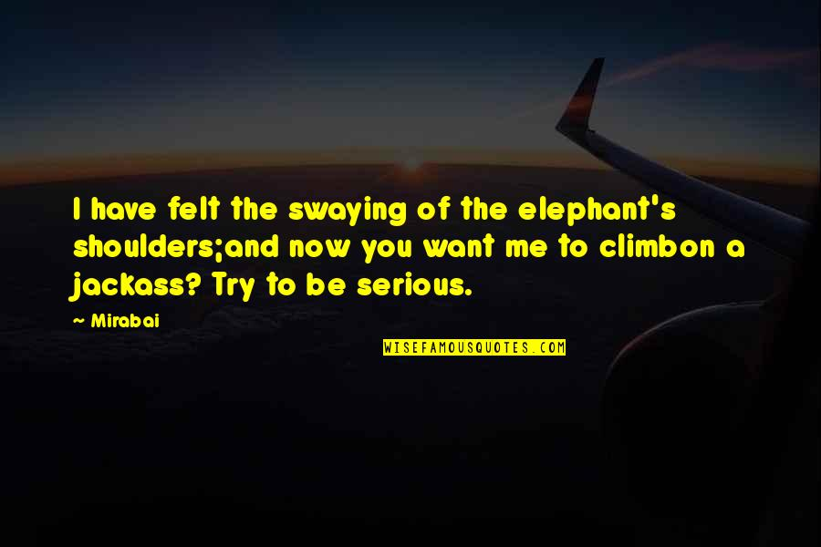 Southern Illinois Quotes By Mirabai: I have felt the swaying of the elephant's