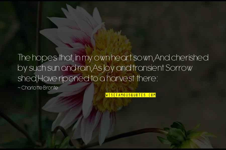 Sown Quotes By Charlotte Bronte: The hopes that, in my own heart sown,And