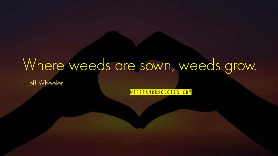 Sown Quotes By Jeff Wheeler: Where weeds are sown, weeds grow.