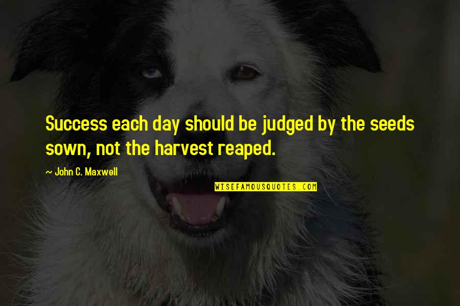 Sown Quotes By John C. Maxwell: Success each day should be judged by the