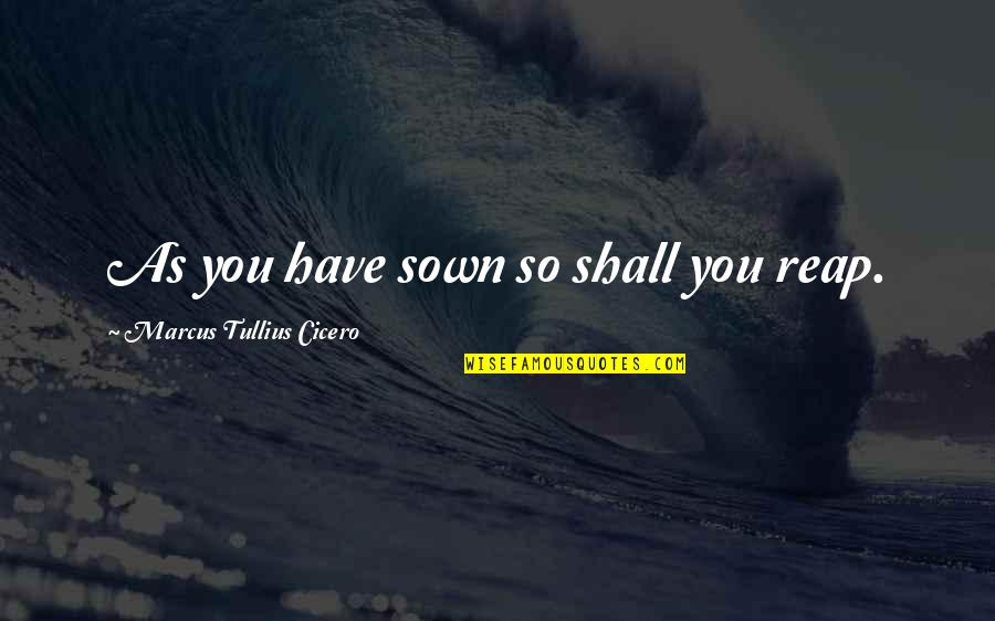 Sown Quotes By Marcus Tullius Cicero: As you have sown so shall you reap.