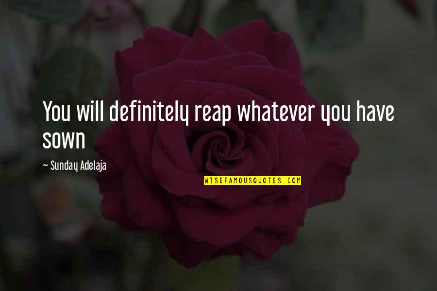 Sown Quotes By Sunday Adelaja: You will definitely reap whatever you have sown