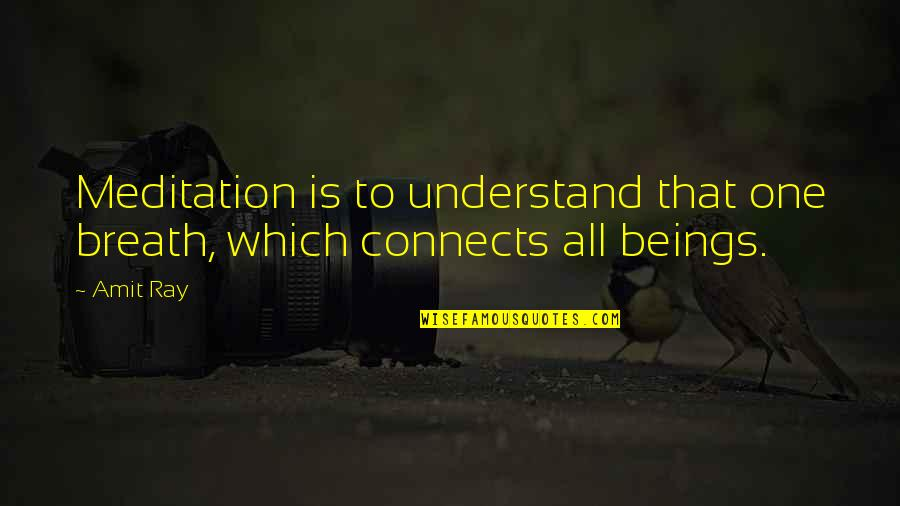 Space To Breathe Quotes By Amit Ray: Meditation is to understand that one breath, which