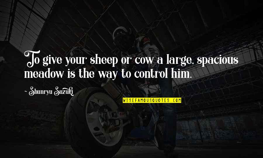 Spacious Quotes By Shunryu Suzuki: To give your sheep or cow a large,