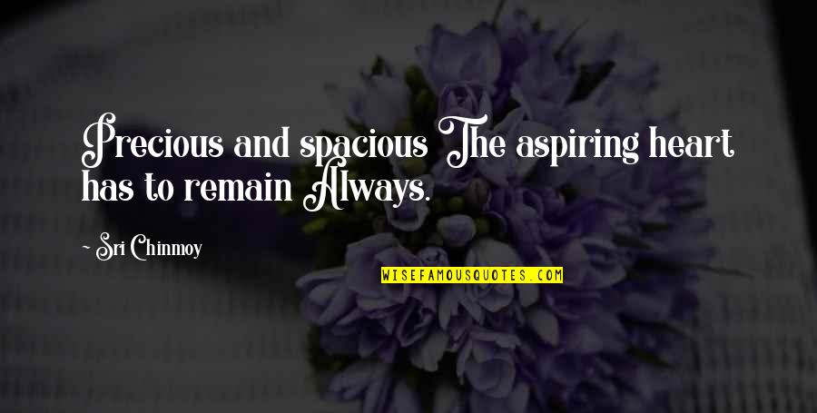 Spacious Quotes By Sri Chinmoy: Precious and spacious The aspiring heart has to