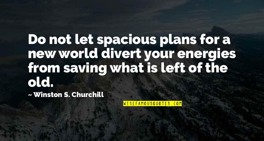 Spacious Quotes By Winston S. Churchill: Do not let spacious plans for a new