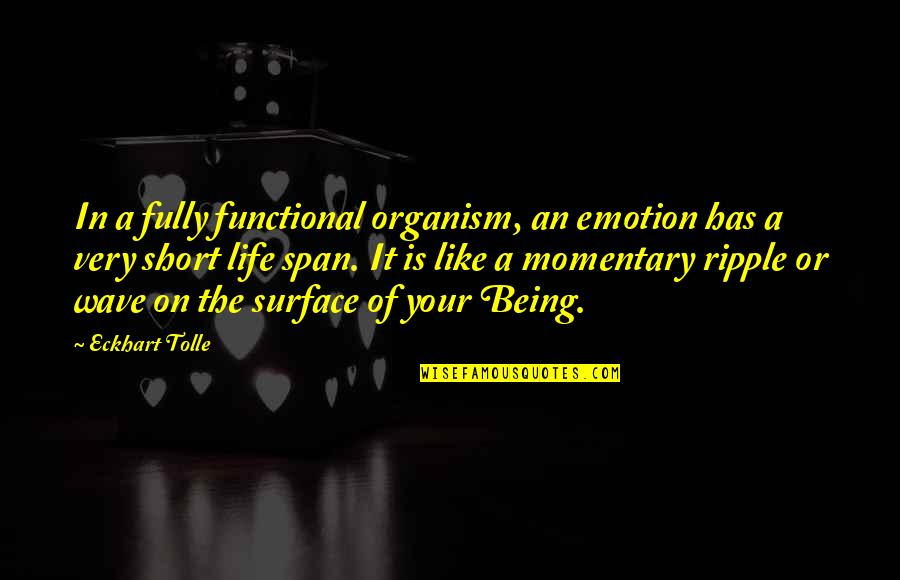Span Quotes By Eckhart Tolle: In a fully functional organism, an emotion has