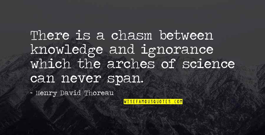 Span Quotes By Henry David Thoreau: There is a chasm between knowledge and ignorance