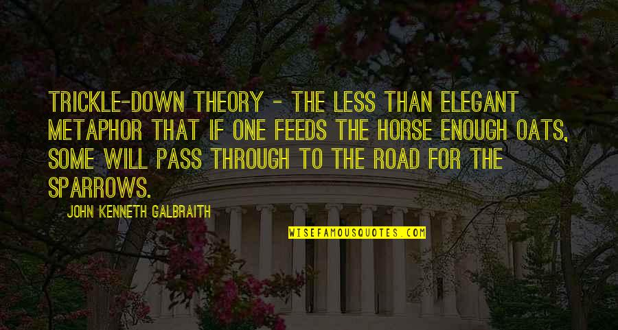 Sparrows Quotes By John Kenneth Galbraith: Trickle-down theory - the less than elegant metaphor