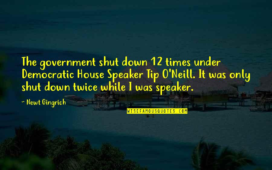 Speaker Quotes By Newt Gingrich: The government shut down 12 times under Democratic