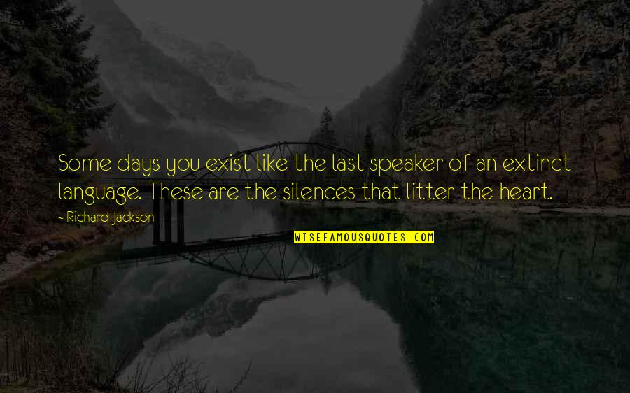 Speaker Quotes By Richard Jackson: Some days you exist like the last speaker