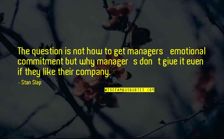 Speaker Quotes By Stan Slap: The question is not how to get managers'