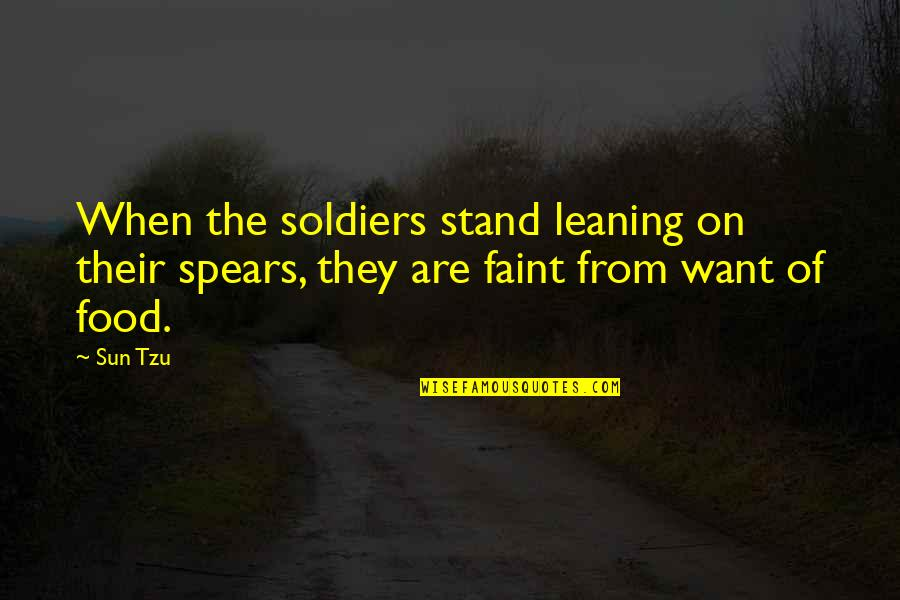 Spears's Quotes By Sun Tzu: When the soldiers stand leaning on their spears,