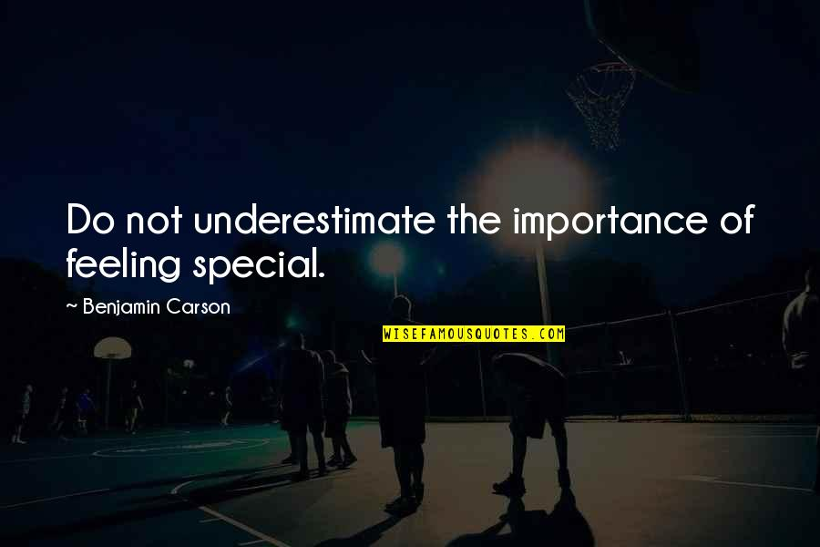 Special Feeling Quotes By Benjamin Carson: Do not underestimate the importance of feeling special.