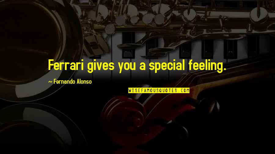 Special Feeling Quotes By Fernando Alonso: Ferrari gives you a special feeling.