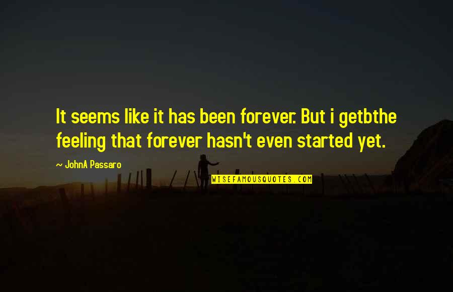 Special Feeling Quotes By JohnA Passaro: It seems like it has been forever. But