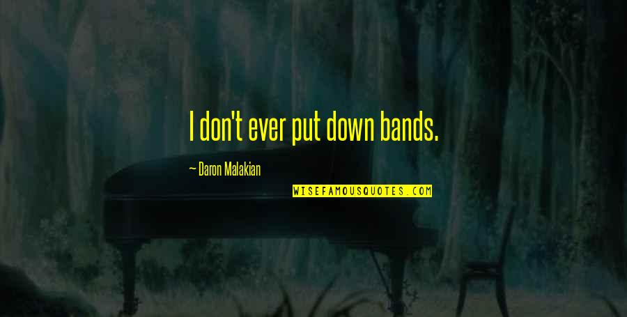 Special Love Day Quotes By Daron Malakian: I don't ever put down bands.
