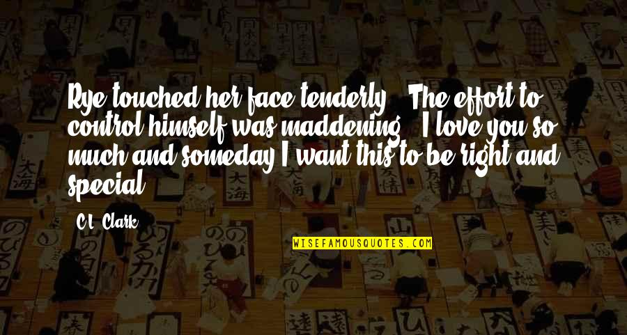 Special Love Quotes By C.L. Clark: Rye touched her face tenderly. The effort to