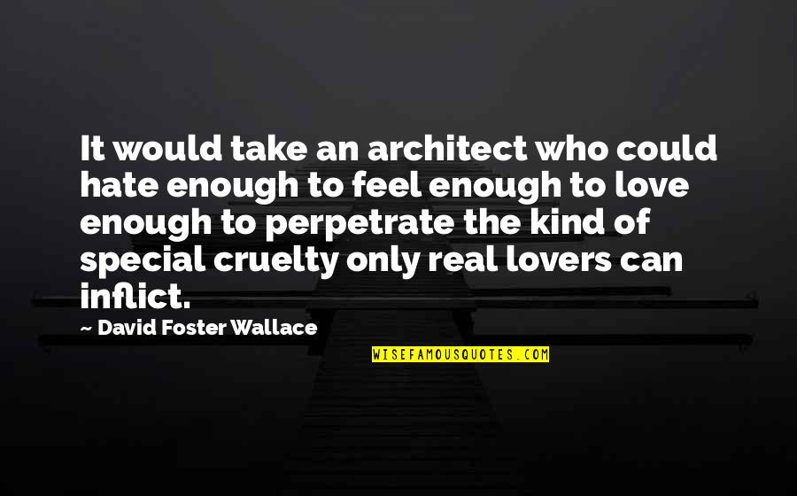 Special Love Quotes By David Foster Wallace: It would take an architect who could hate