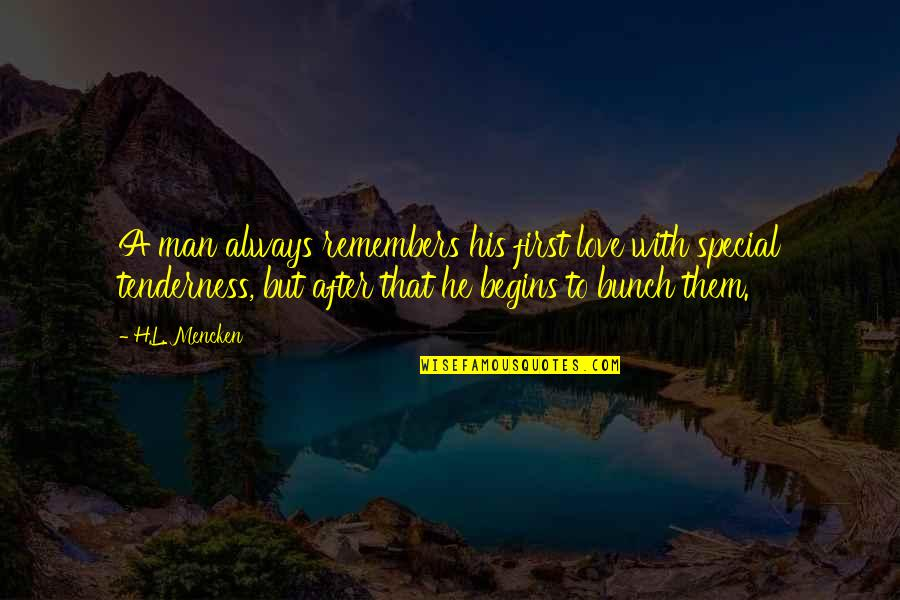 Special Love Quotes By H.L. Mencken: A man always remembers his first love with