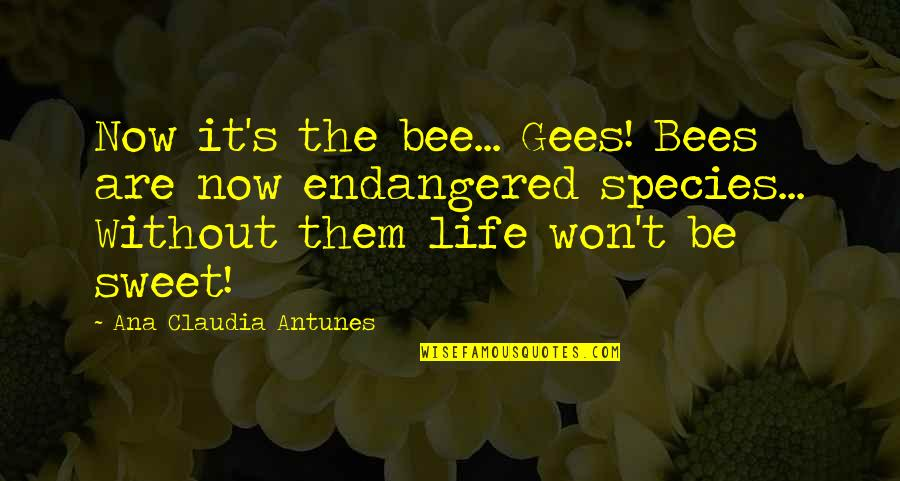 Species's Quotes By Ana Claudia Antunes: Now it's the bee... Gees! Bees are now