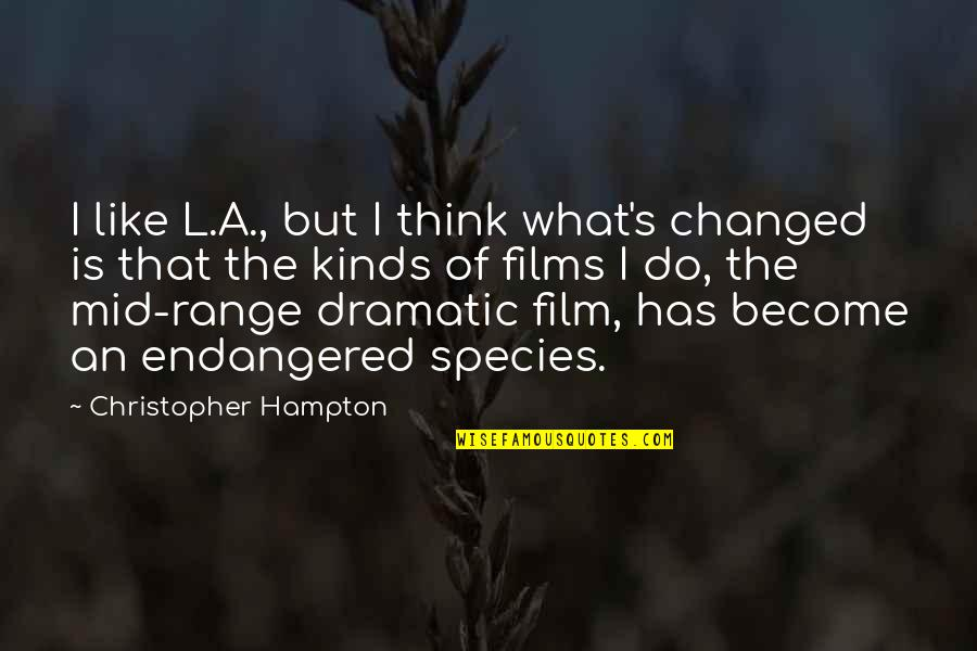 Species's Quotes By Christopher Hampton: I like L.A., but I think what's changed