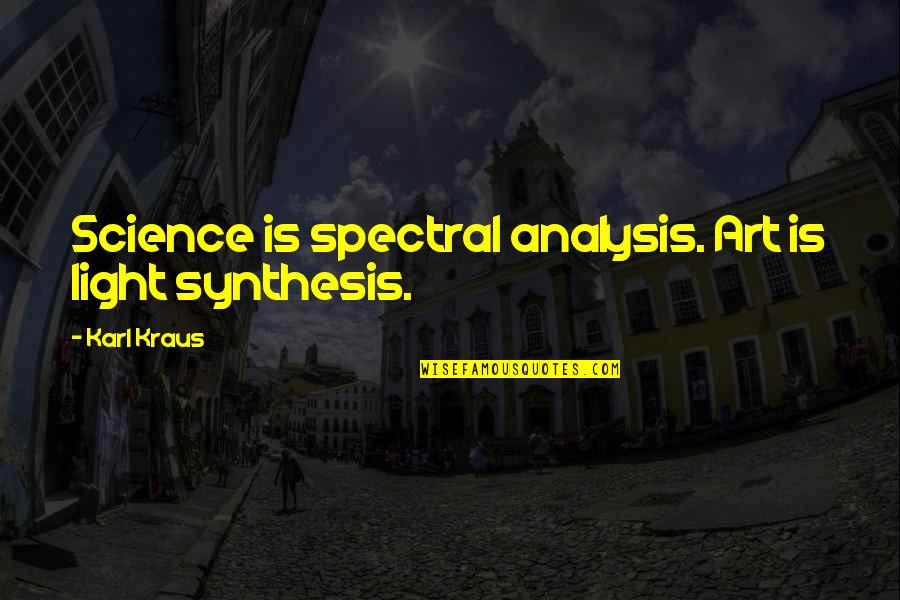 Spectral Quotes By Karl Kraus: Science is spectral analysis. Art is light synthesis.