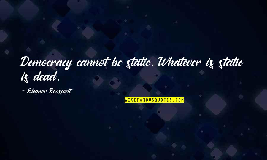 Speech Contests Quotes By Eleanor Roosevelt: Democracy cannot be static. Whatever is static is