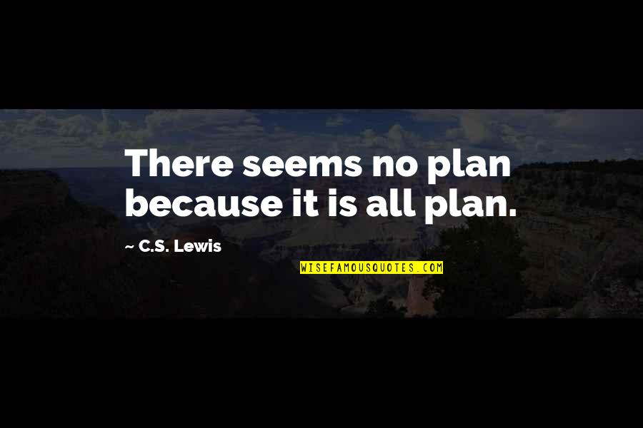 Speech Delivery Quotes By C.S. Lewis: There seems no plan because it is all