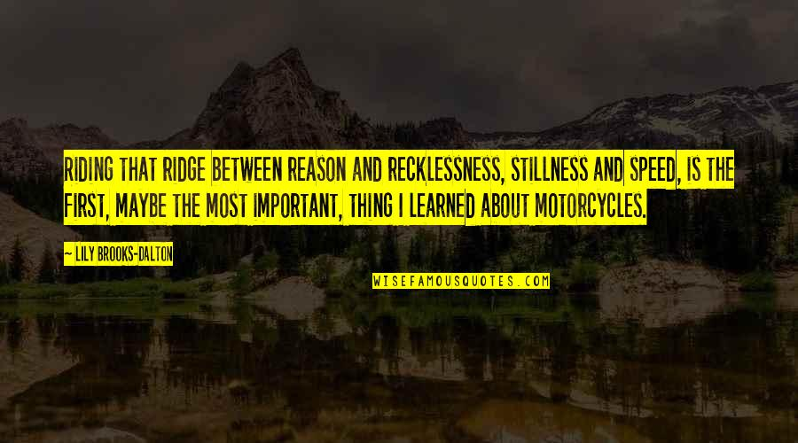 Speed'll Quotes By Lily Brooks-Dalton: Riding that ridge between reason and recklessness, stillness