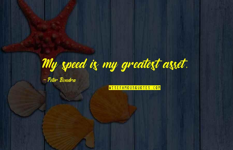 Speed'll Quotes By Peter Bondra: My speed is my greatest asset.
