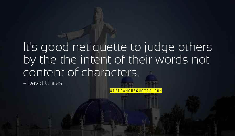 Spelling And Grammar Quotes By David Chiles: It's good netiquette to judge others by the