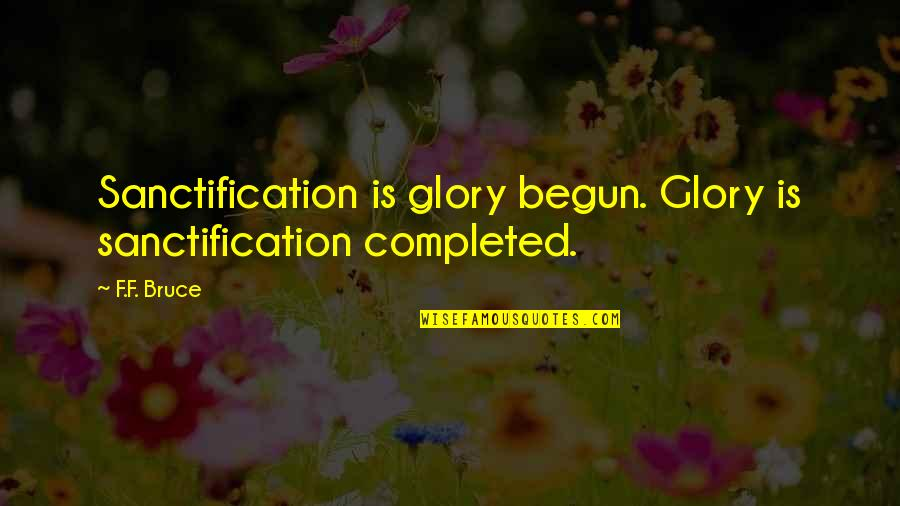 Spending Time With Family During Christmas Quotes By F.F. Bruce: Sanctification is glory begun. Glory is sanctification completed.