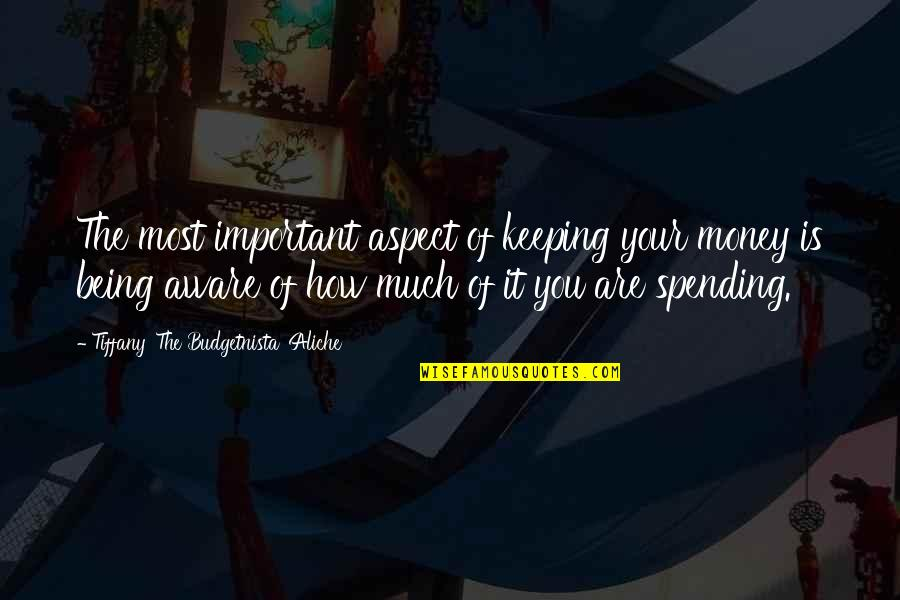 Spending Your Own Money Quotes By Tiffany 'The Budgetnista' Aliche: The most important aspect of keeping your money