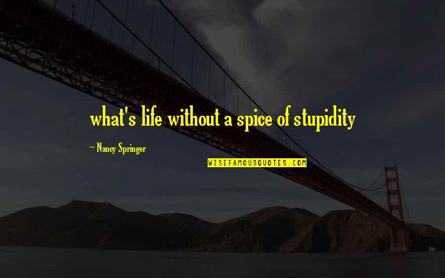 Spice It Up Quotes By Nancy Springer: what's life without a spice of stupidity