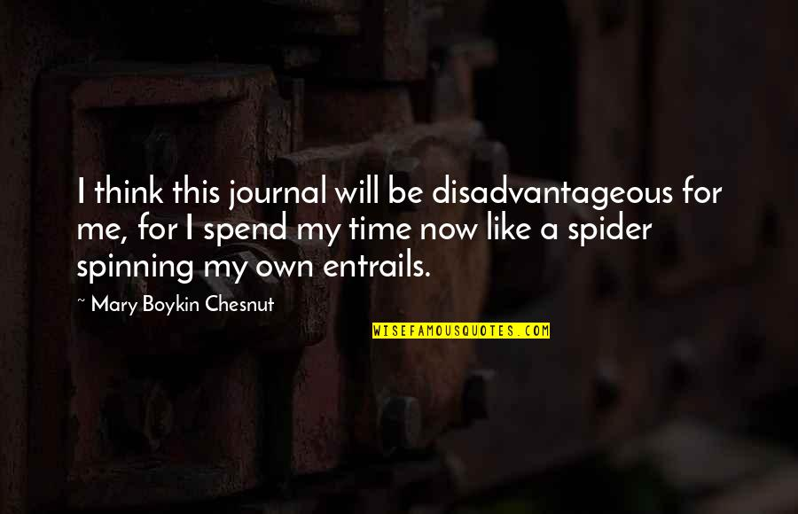 Spider Quotes By Mary Boykin Chesnut: I think this journal will be disadvantageous for