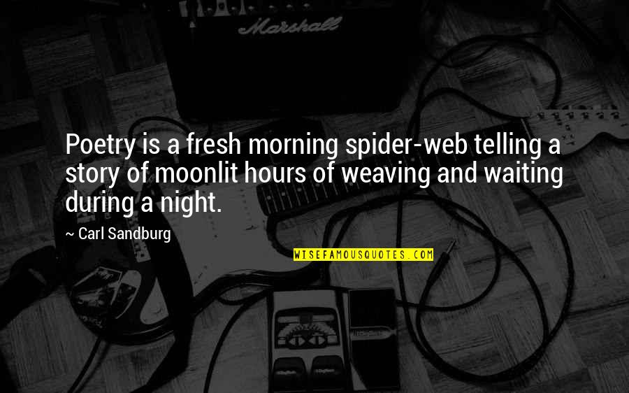 Spider Web Quotes By Carl Sandburg: Poetry is a fresh morning spider-web telling a