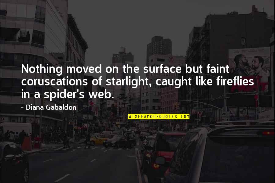Spider Web Quotes By Diana Gabaldon: Nothing moved on the surface but faint coruscations